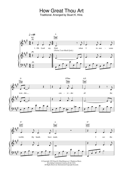 Chords Lyrics To The Song How Great Thou Art - Karmashares LLC ...