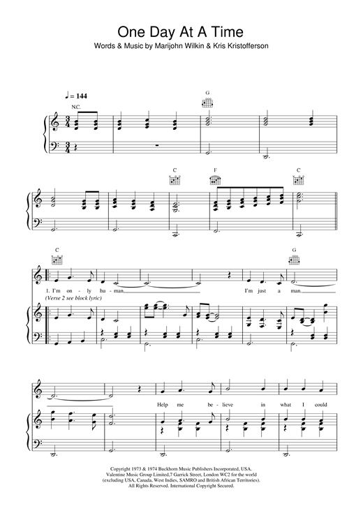 Daniel Odonnell One Day At A Time Sheet Music Notes Chords