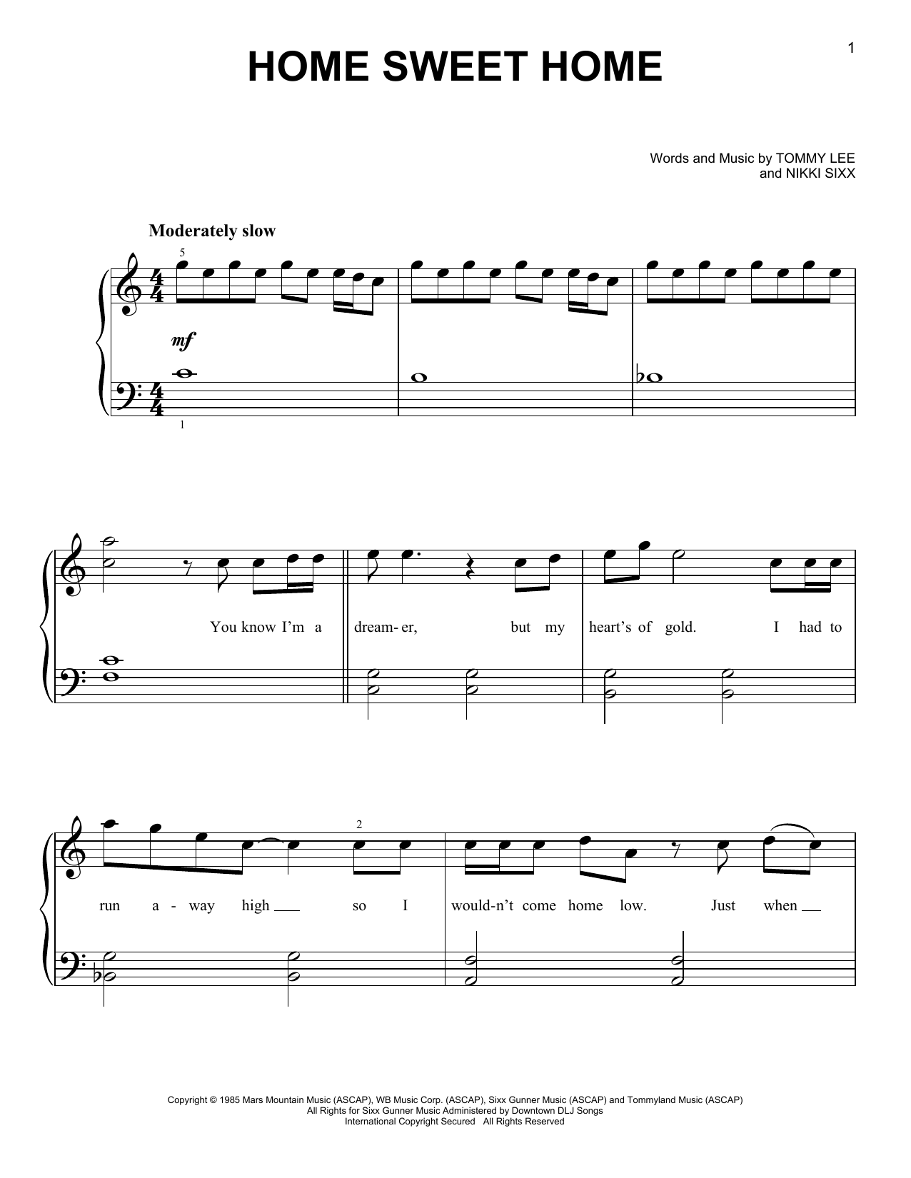 Motley Crue Home Sweet Home Sheet Music Notes Chords Printable