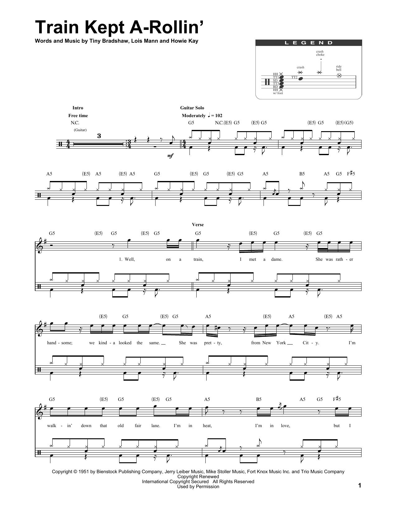 Aerosmith Train Kept A Rollin Sheet Music Notes Chords