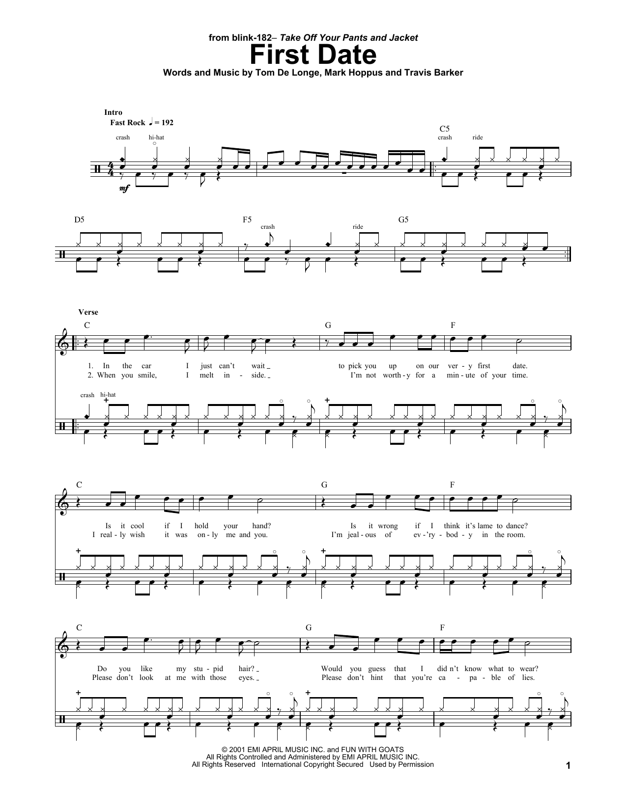 Blink 182 First Date Sheet Music Notes Chords Printable Punk