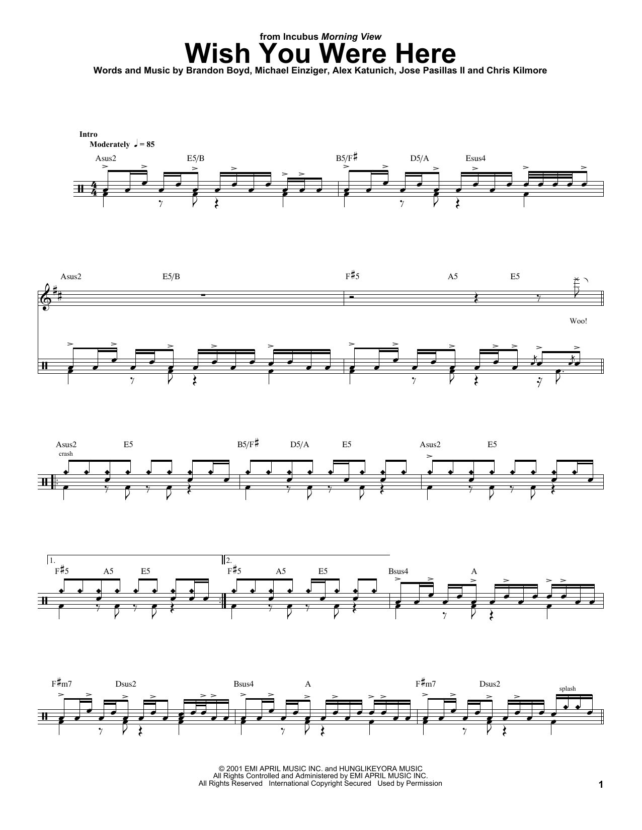 Guitar Chords Incubus Wish You Were Here Idea Gallery