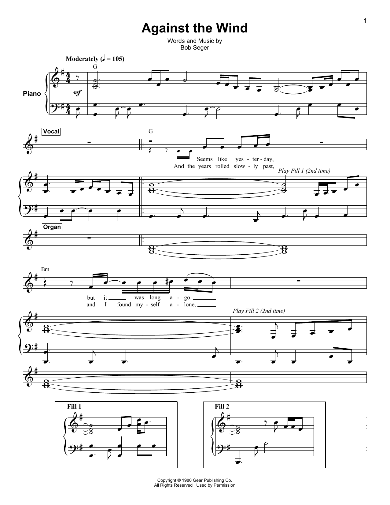 Bob Seger Against The Wind Sheet Music Notes Chords Printable