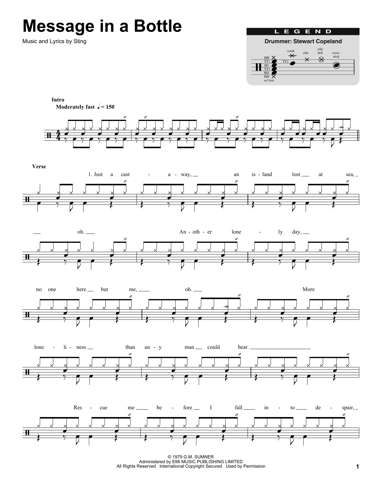 The Police Message In A Bottle Sheet Music Notes Chords