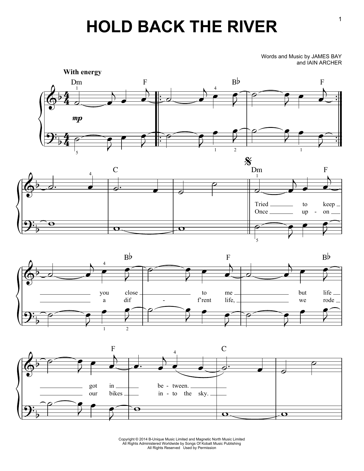 James Bay Hold Back The River Sheet Music Notes Chords