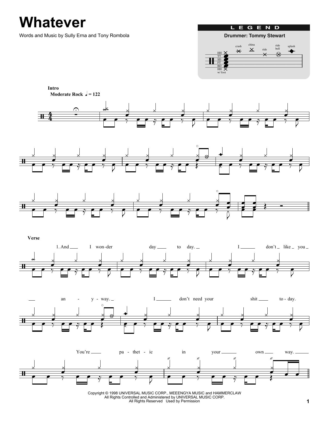 Godsmack Whatever Sheet Music Notes Chords Printable Pop Drums