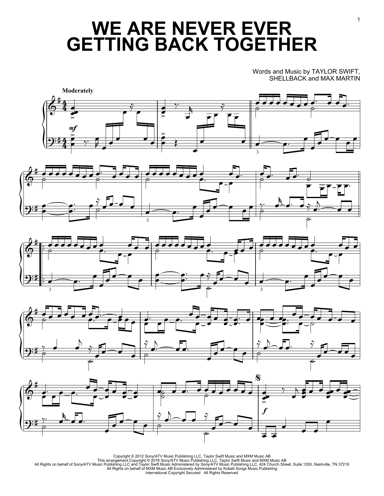 Taylor Swift We Are Never Ever Getting Back Together Sheet Music
