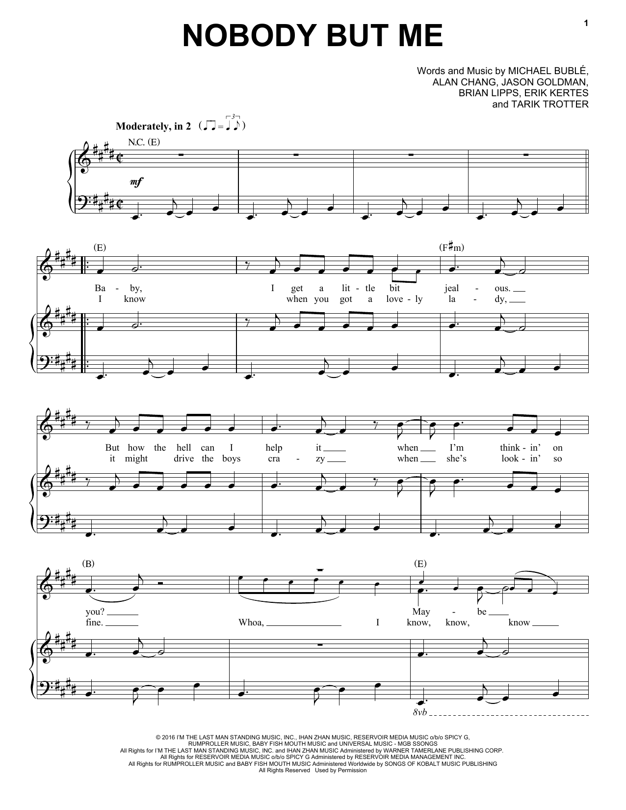 Michael Buble Nobody But Me Sheet Music Notes Chords Printable