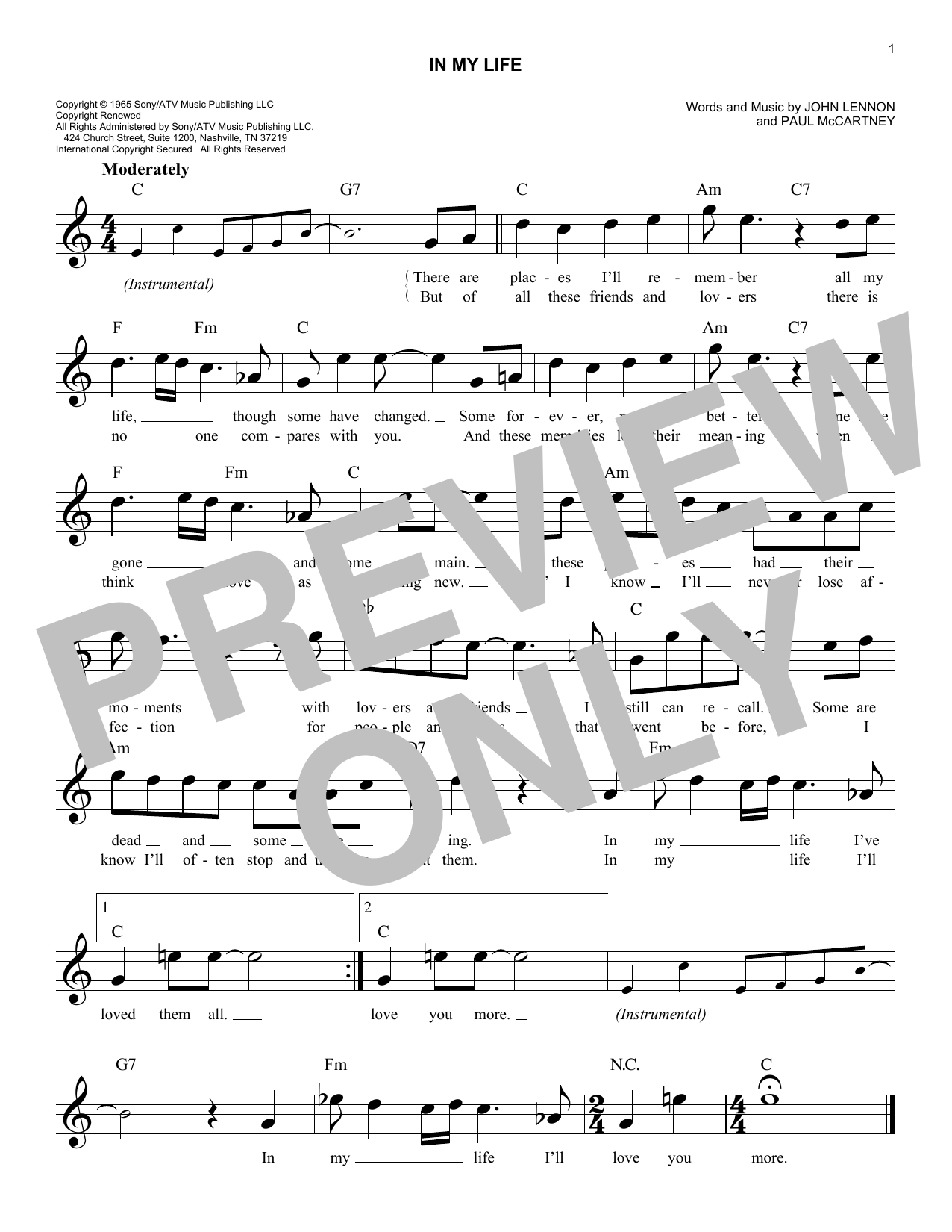 The Beatles 'In My Life' Sheet Music Notes, Chords | Download Printable  Melody Line, Lyrics & Chords - SKU: 174994