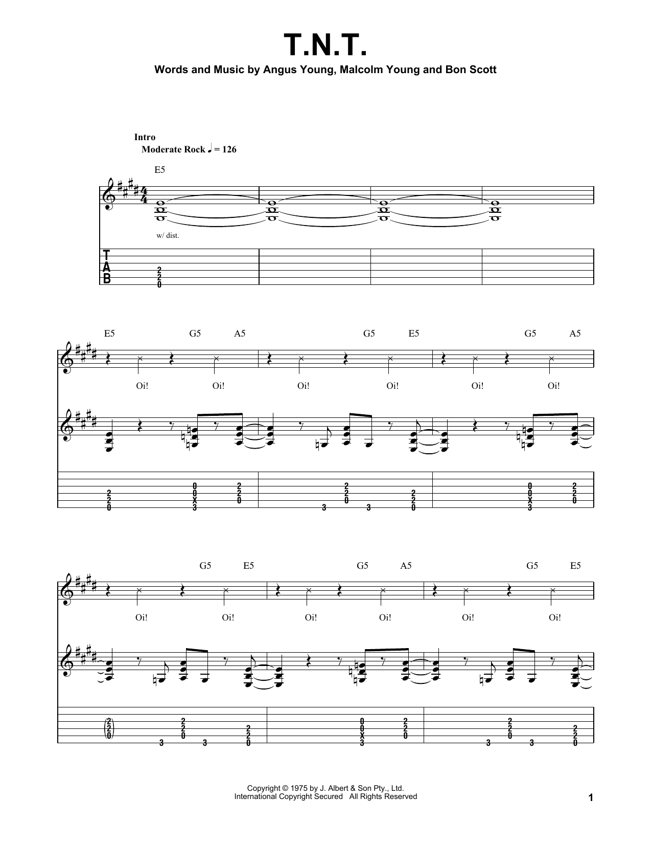 Acdc Tnt Sheet Music Notes Chords Printable Rock Easy
