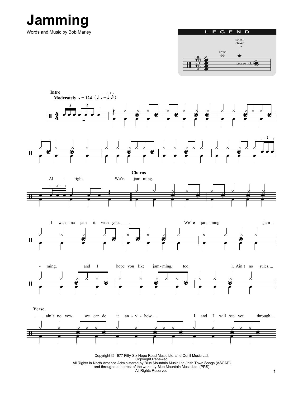 Bob Marley Jamming Sheet Music Notes Chords Printable Folk
