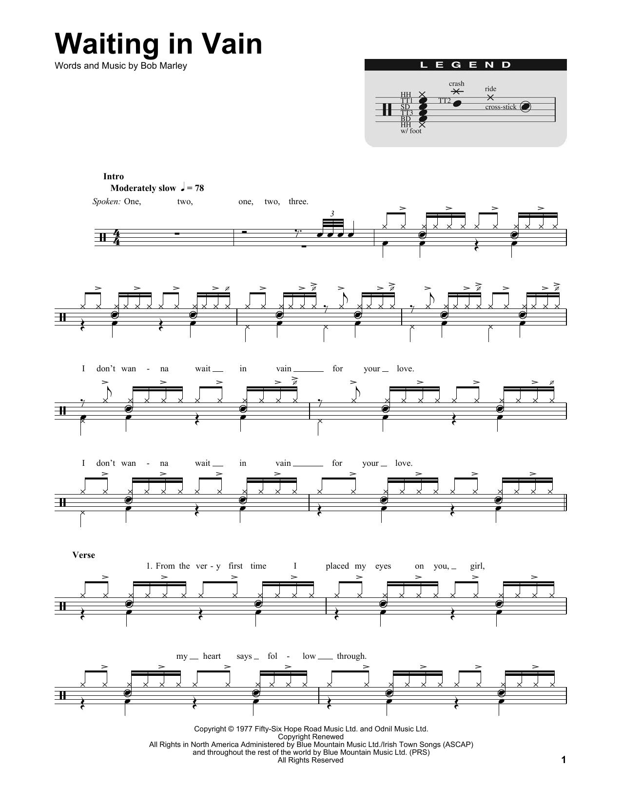 Bob Marley Waiting In Vain Sheet Music Notes Chords Printable
