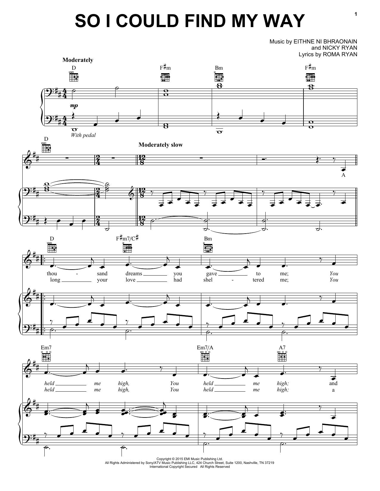 Enya So I Could Find My Way Sheet Music Notes Chords Printable