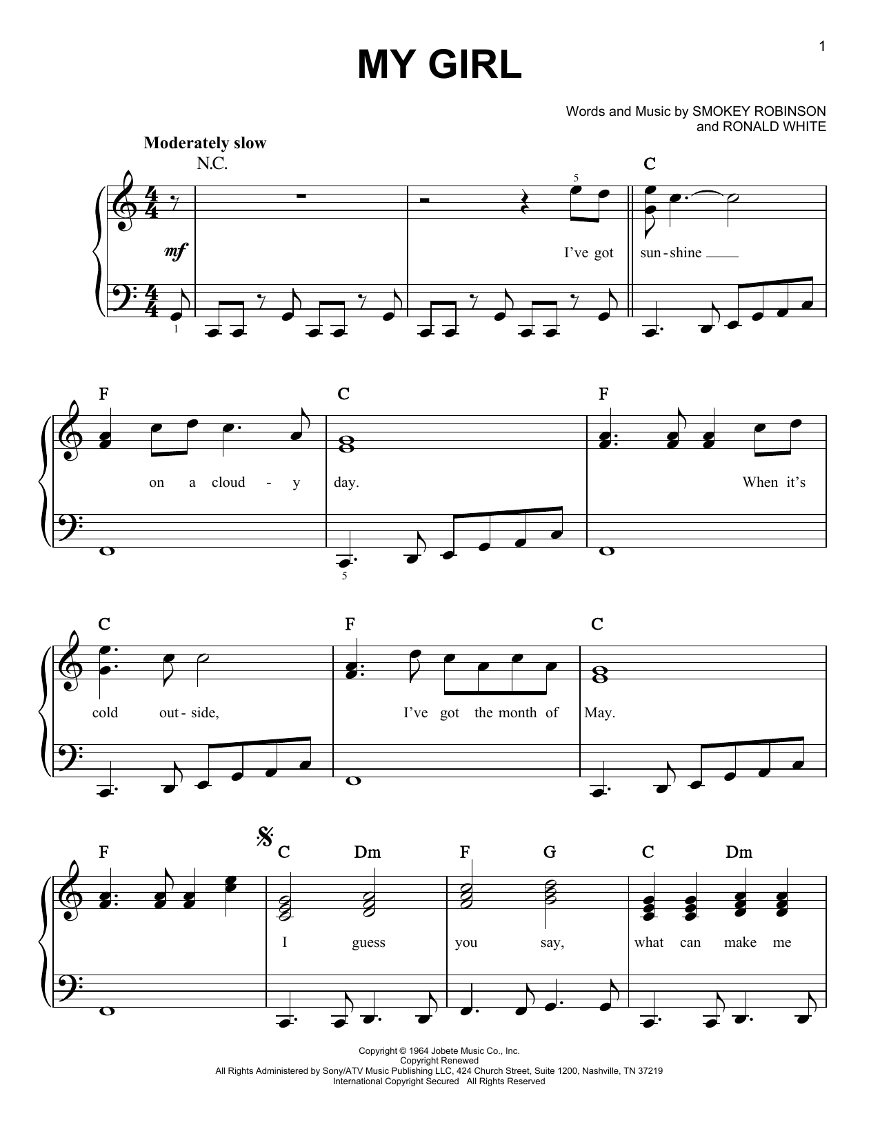 The Temptations My Girl Sheet Music Notes Chords Printable