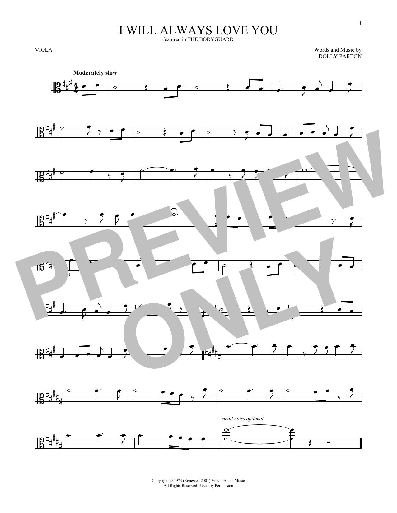 Whitney Houston I Will Always Love You Sheet Music Notes Chords