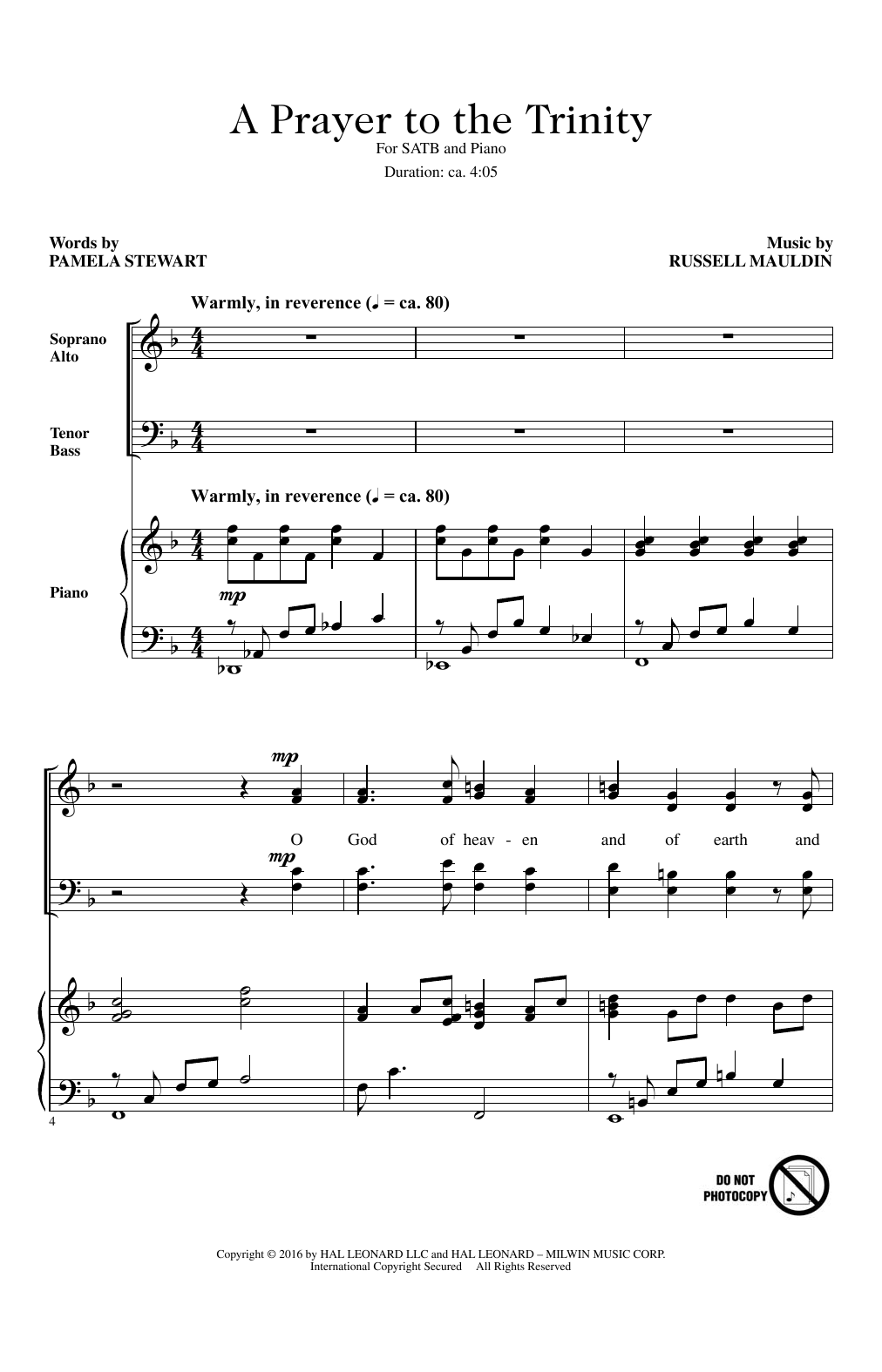 Russell Mauldin A Prayer To The Trinity Sheet Music Notes Chords
