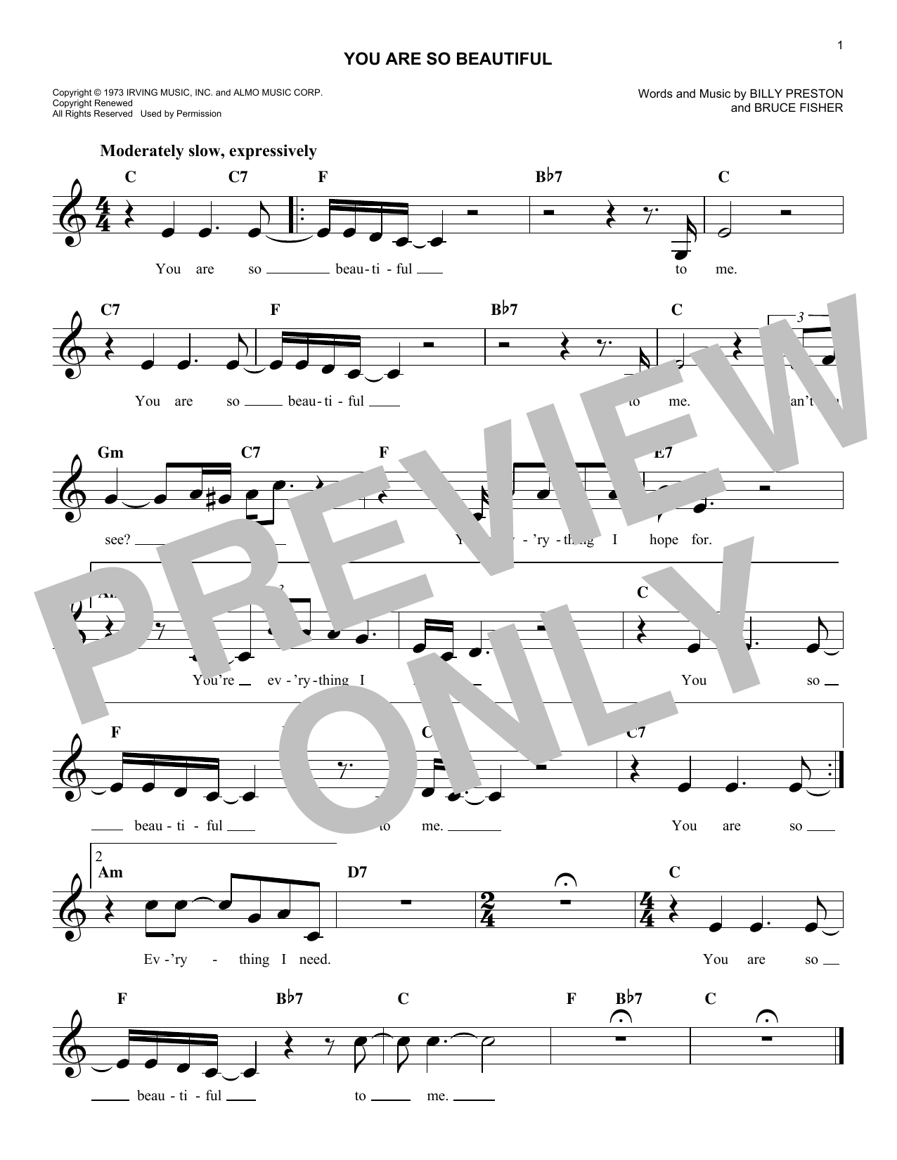 Joe Cocker You Are So Beautiful Sheet Music Notes Chords