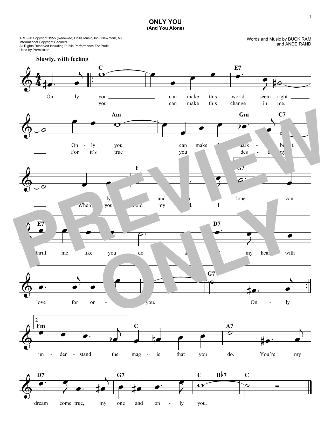 The Platters Only You And You Alone Sheet Music Notes Chords
