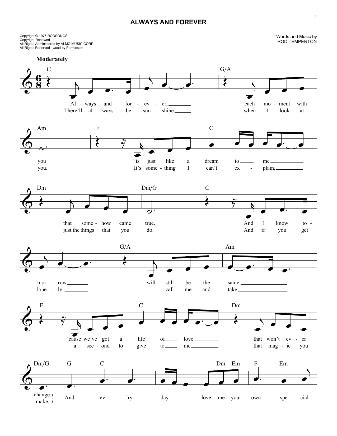 Heatwave Always And Forever Sheet Music Notes Chords Printable