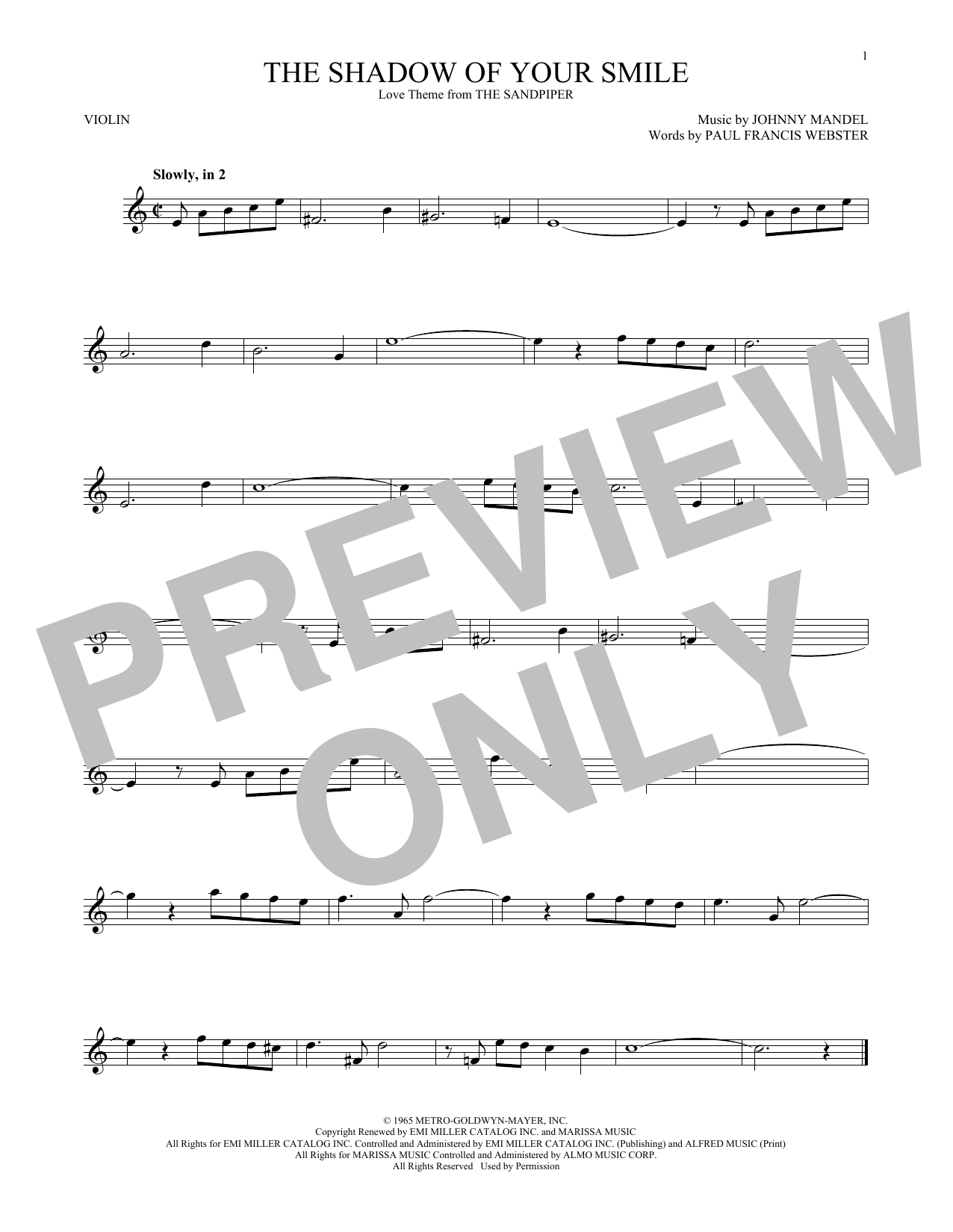 Johnny Mandel The Shadow Of Your Smile Sheet Music Notes Chords