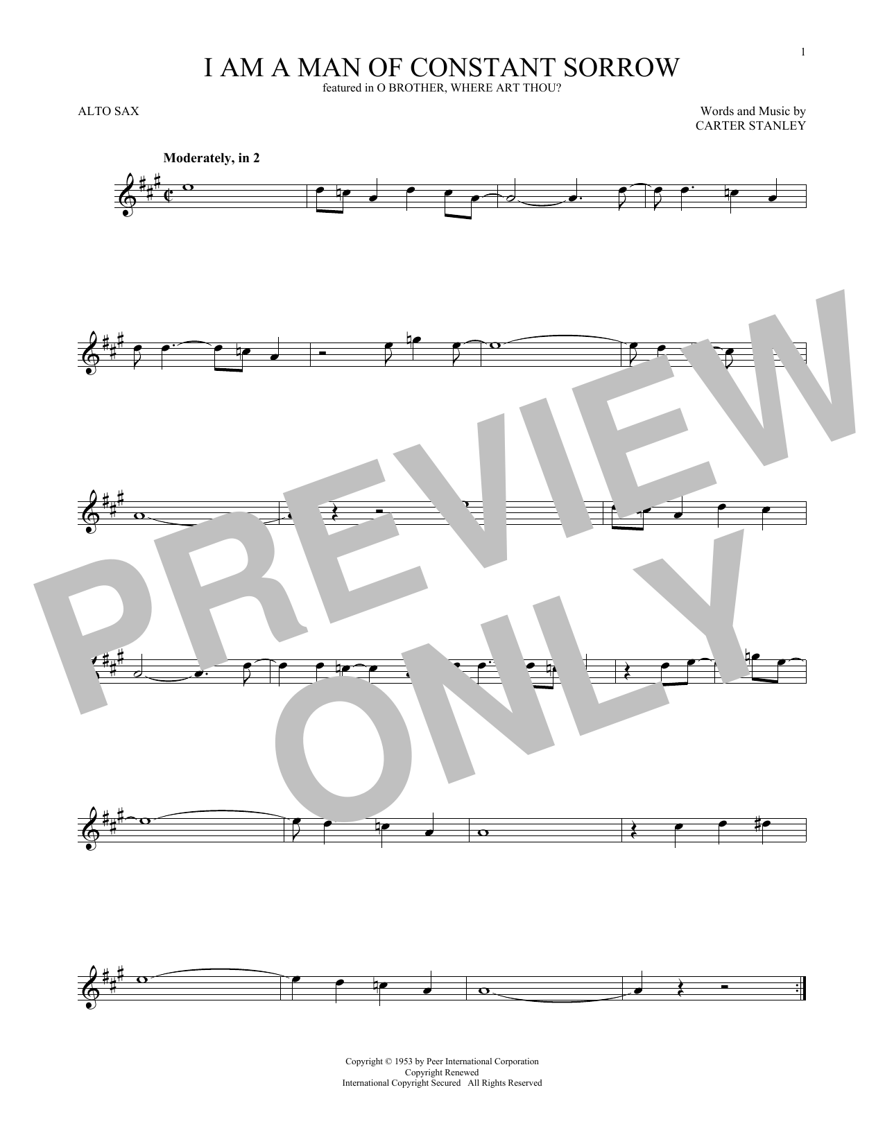 Carter Stanley I Am A Man Of Constant Sorrow Sheet Music Notes