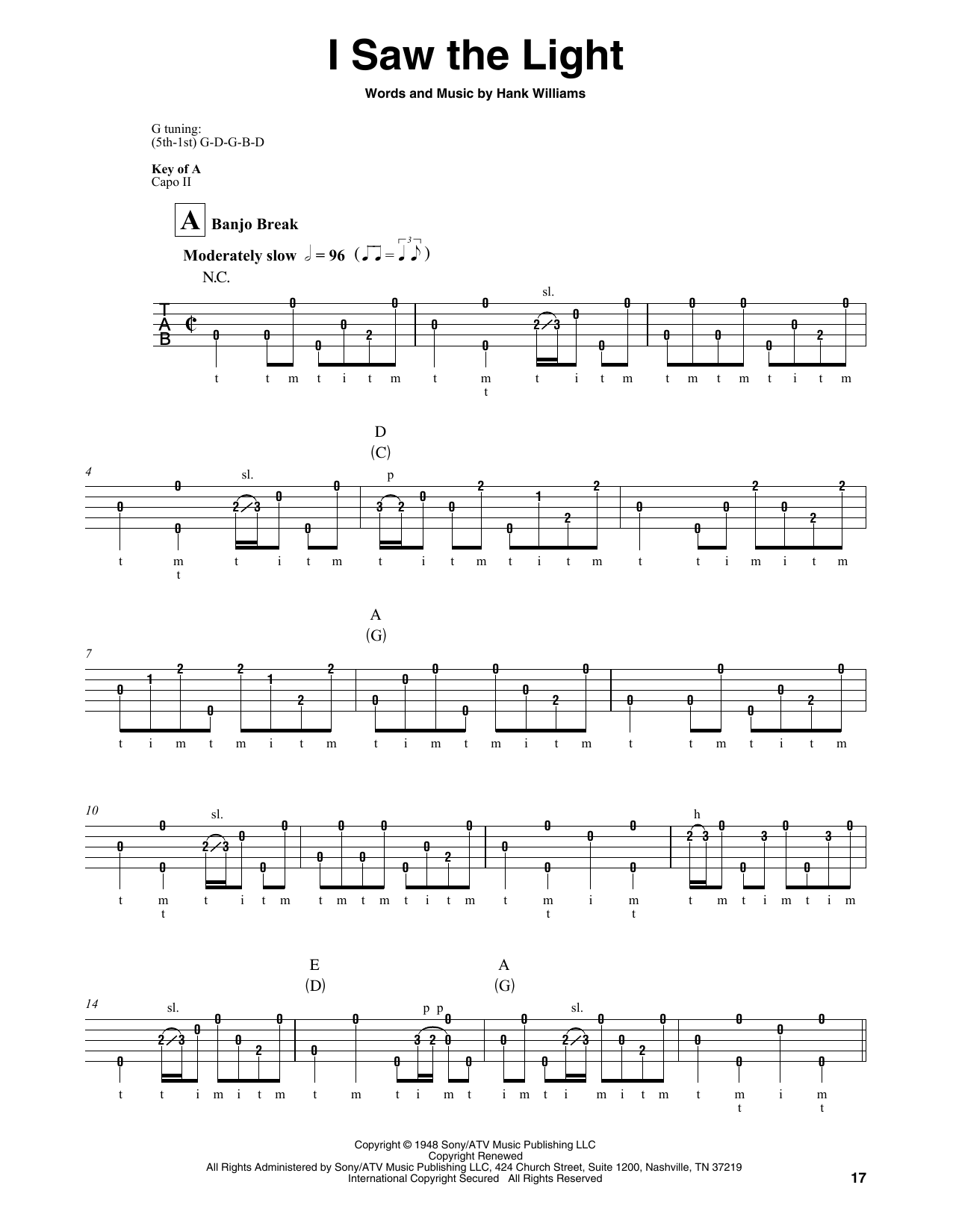 Hank Williams I Saw The Light Sheet Music Notes Chords