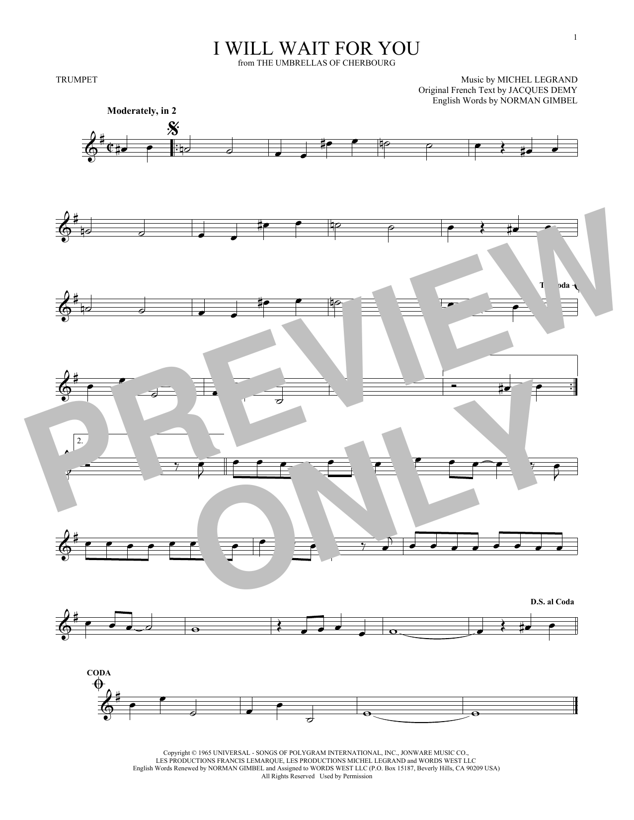 Michel Legrand I Will Wait For You Sheet Music Notes Chords