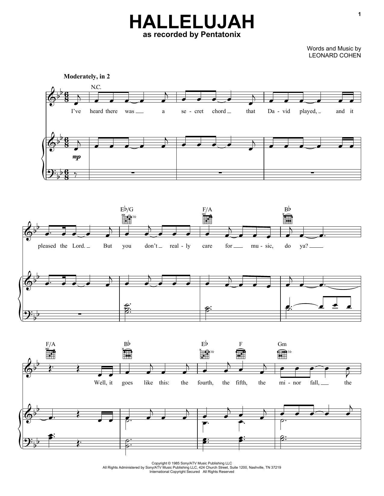 Pentatonix Hallelujah Sheet Music Notes Chords Printable Folk