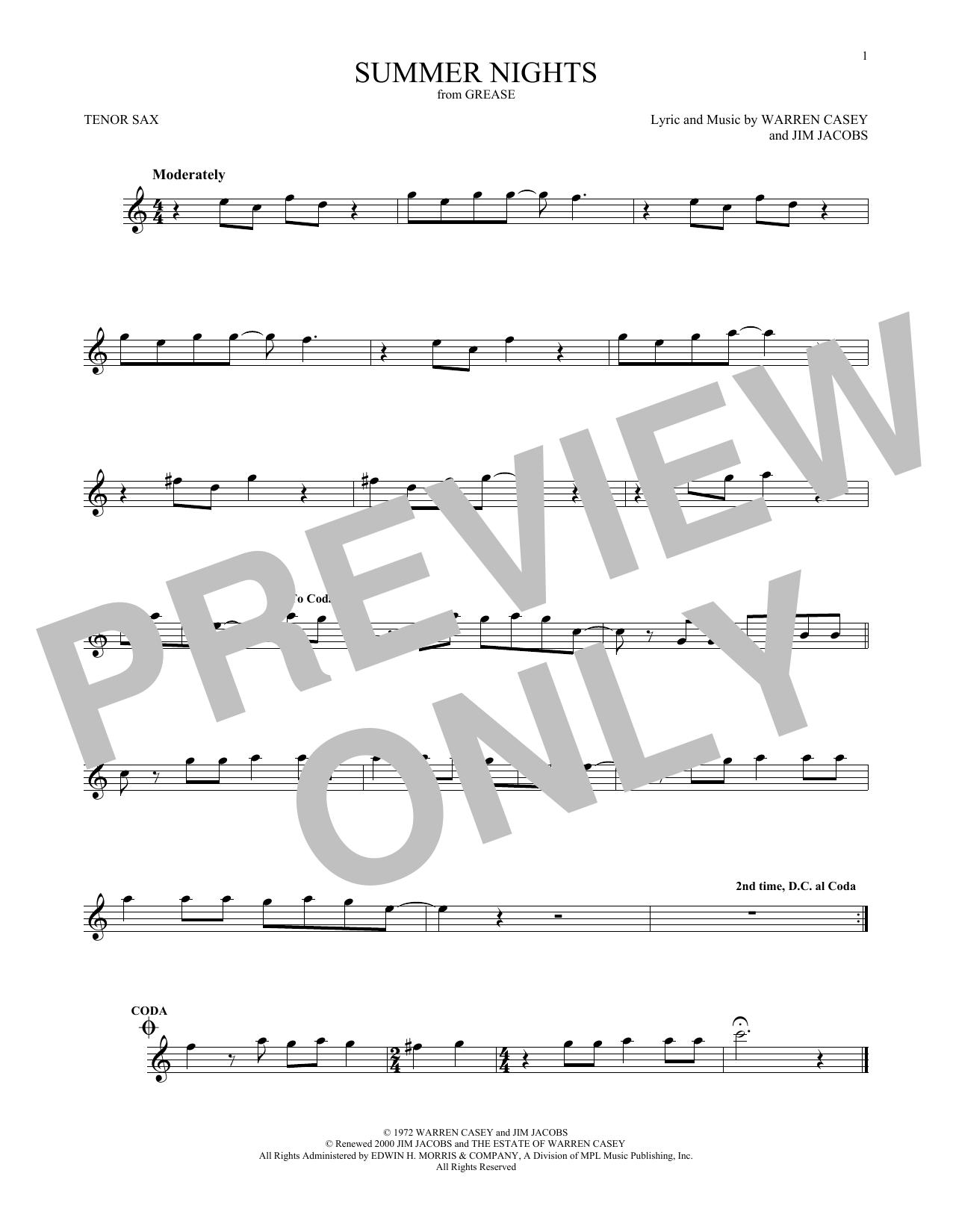 Warren Casey Summer Nights Sheet Music Notes Chords Printable