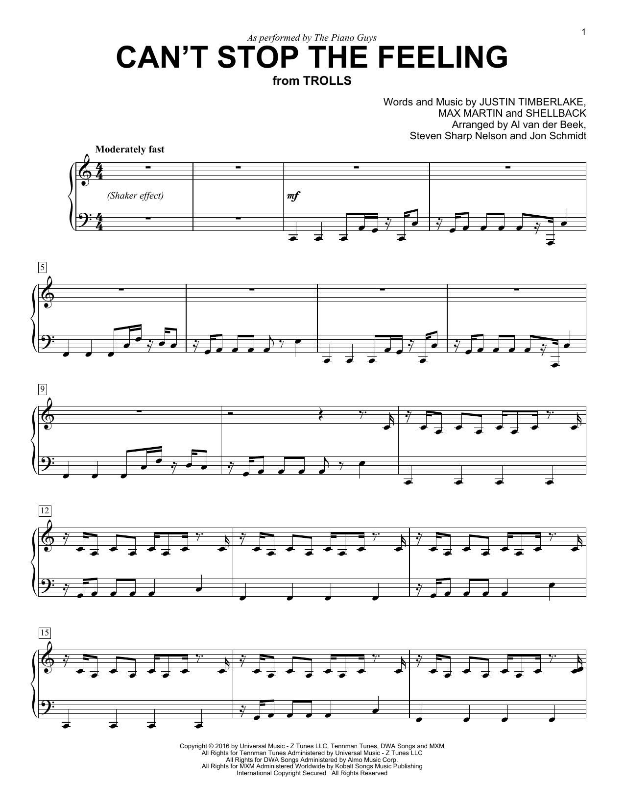 The Piano Guys Cant Stop The Feeling Sheet Music Notes Chords