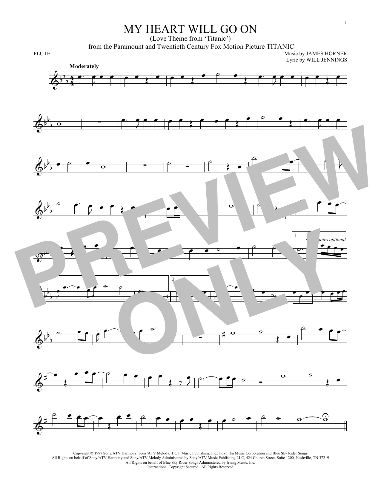 Celine Dion 'My Heart Will Go On (Love Theme From 'Titanic')' Sheet Music  Notes, Chords | Download Printable Flute - SKU: 176657