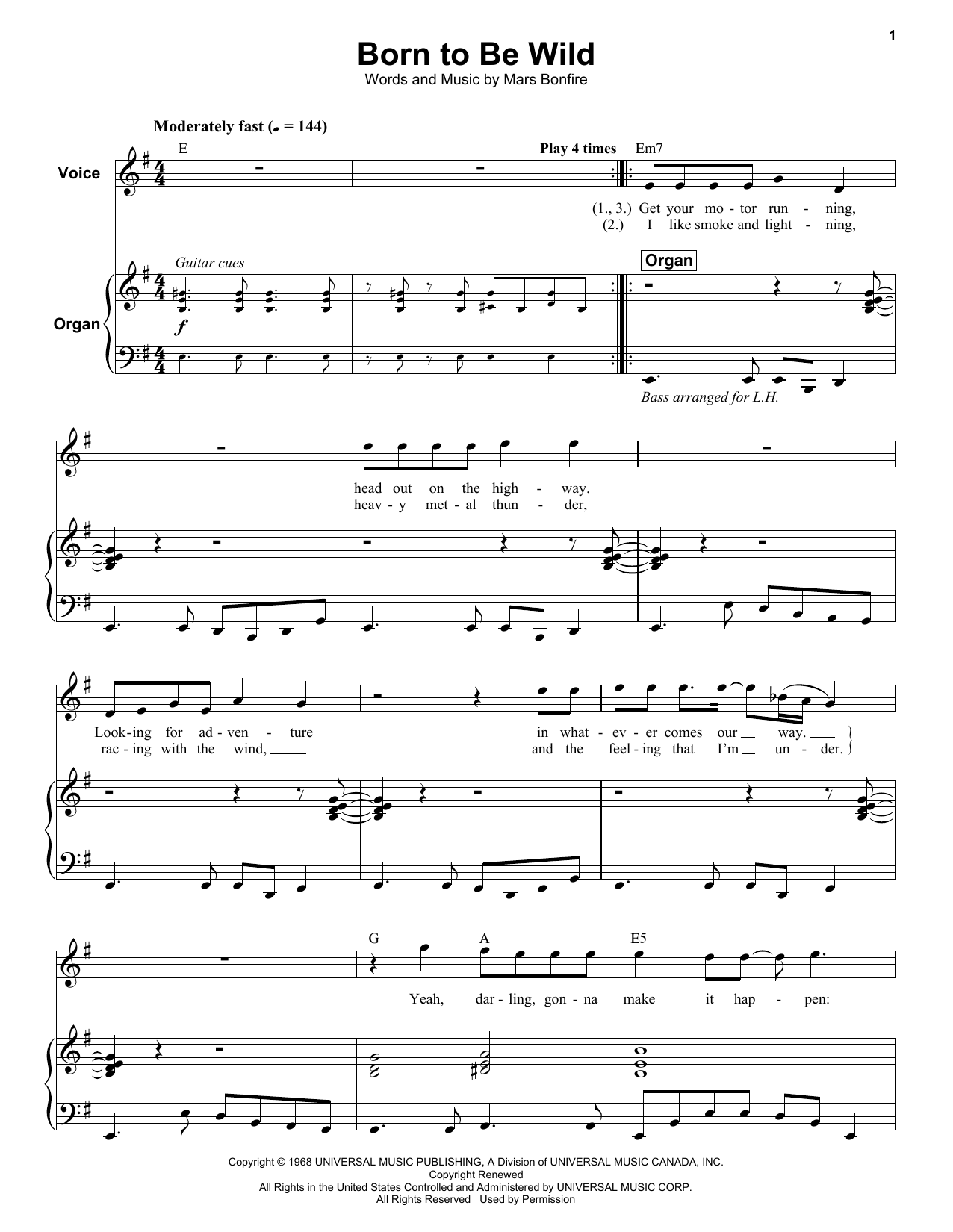 Steppenwolf Born To Be Wild Sheet Music Notes Chords Printable