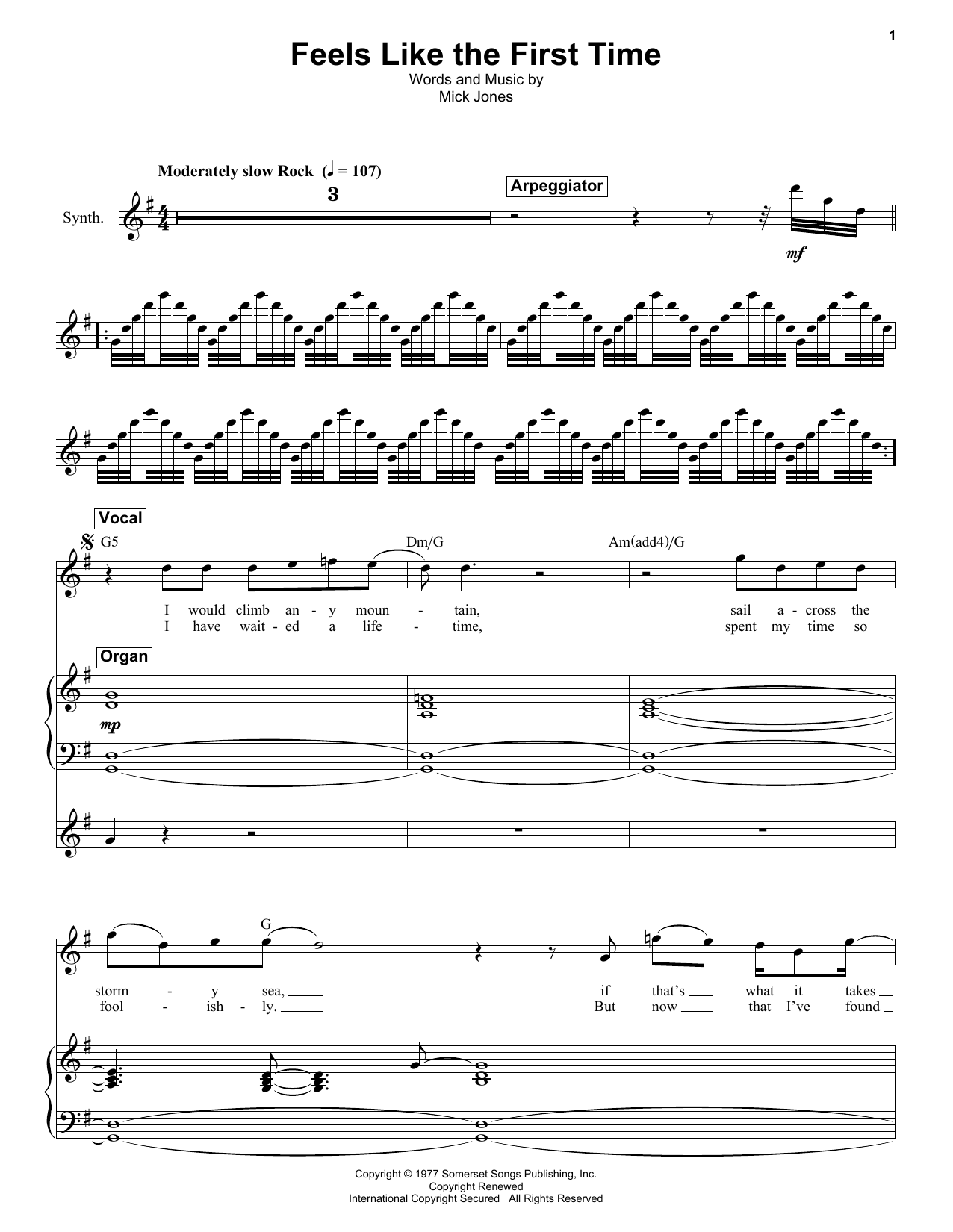 Foreigner Feels Like The First Time Sheet Music Notes Chords