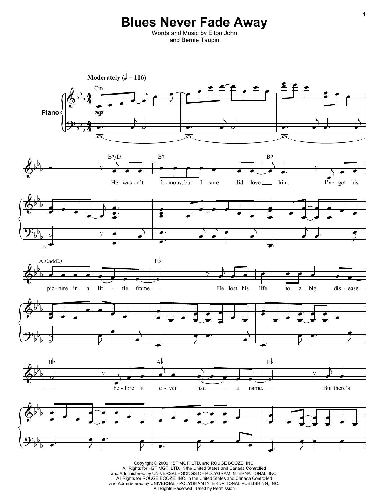 Elton John Blues Never Fade Away Sheet Music Notes Chords