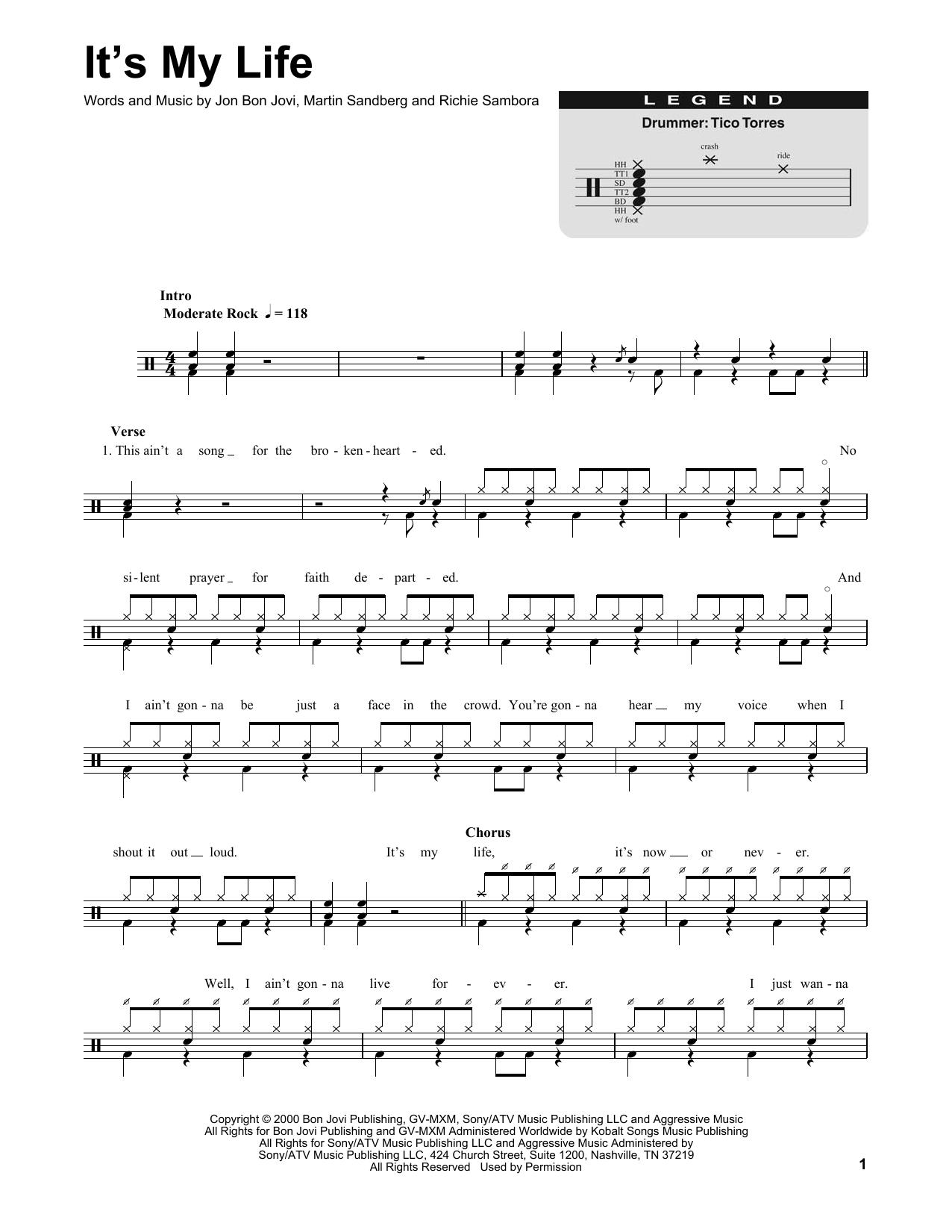 Bon Jovi Its My Life Sheet Music Notes Chords Printable Rock