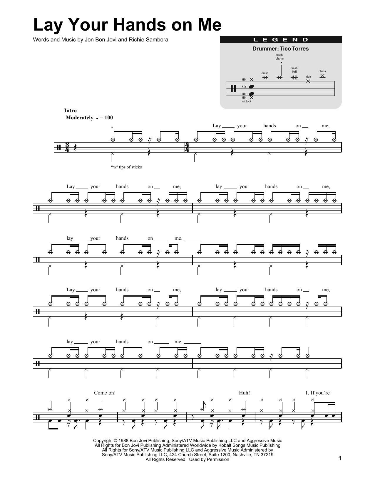 Bon Jovi Lay Your Hands On Me Sheet Music Notes Chords