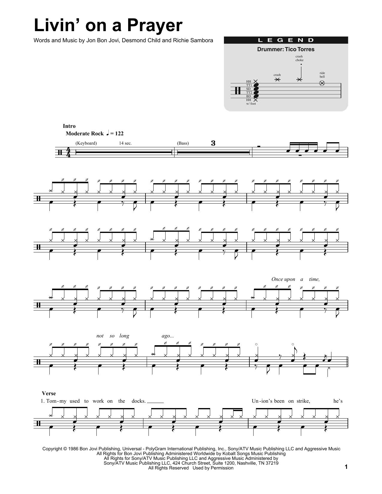 Bon Jovi Livin On A Prayer Sheet Music Notes Chords Printable