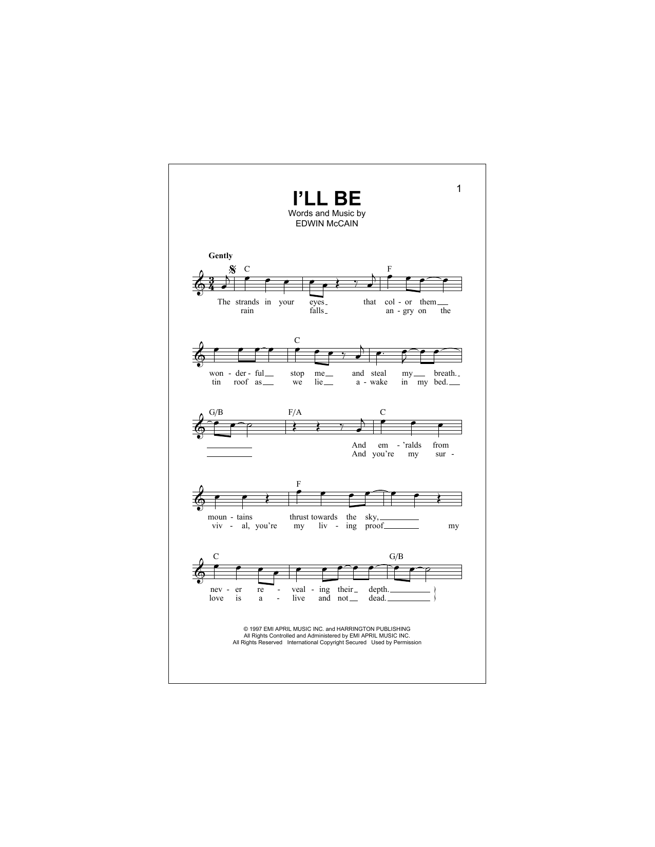 Edwin Mccain Ill Be Sheet Music Notes Chords Printable Ballad