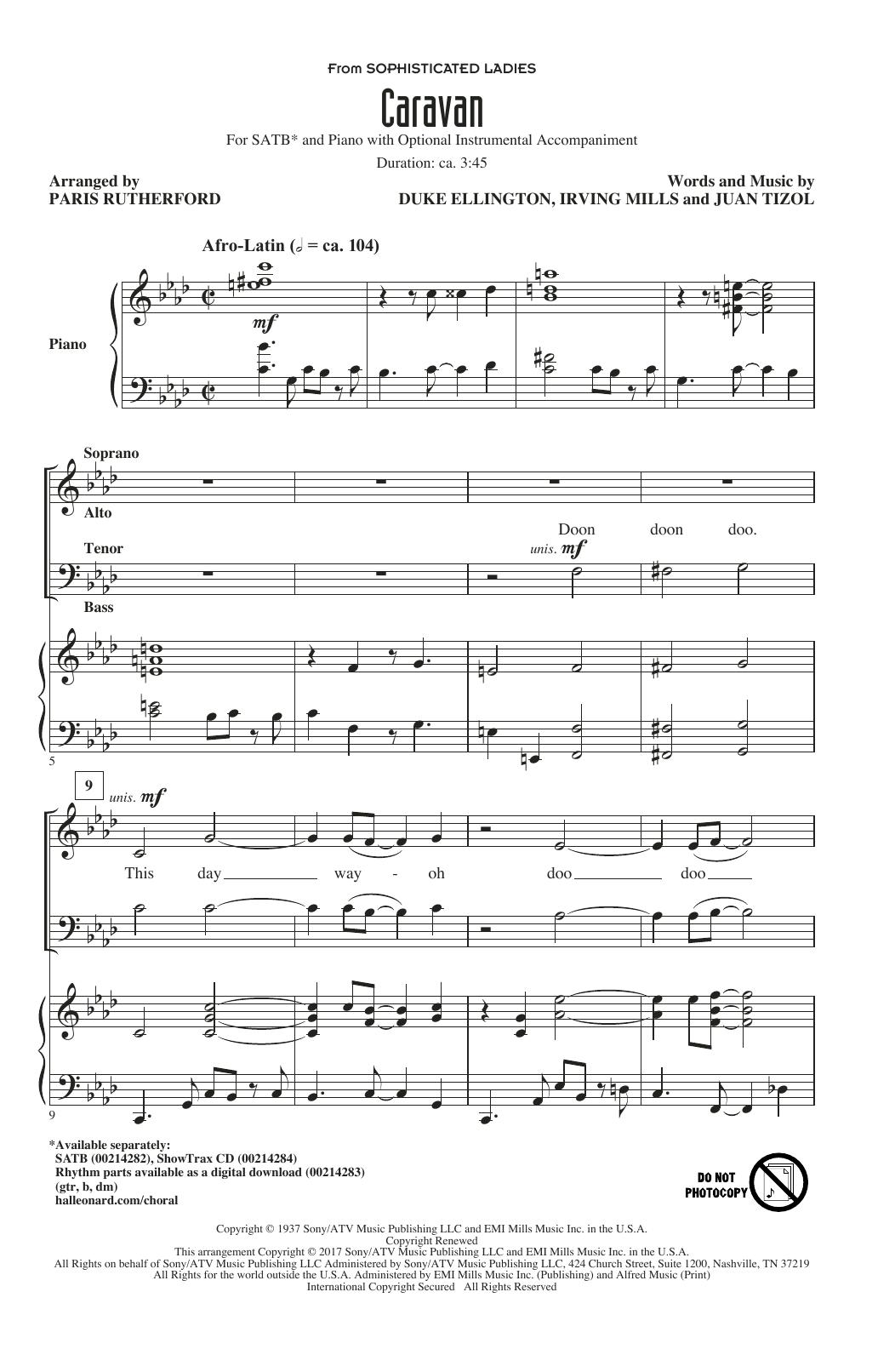Paris Rutherford Caravan Sheet Music Notes Chords Printable