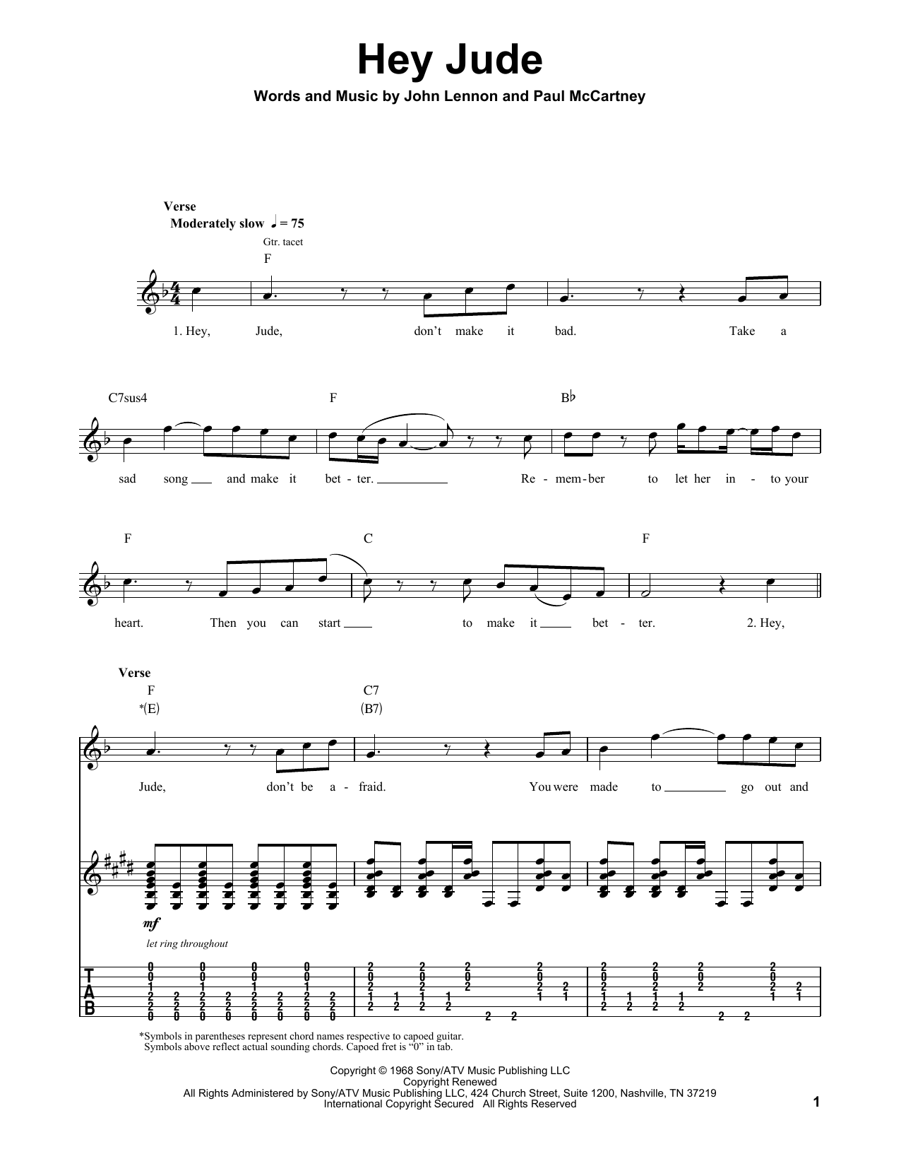 The Beatles Hey Jude Sheet Music Notes Chords Printable Pop