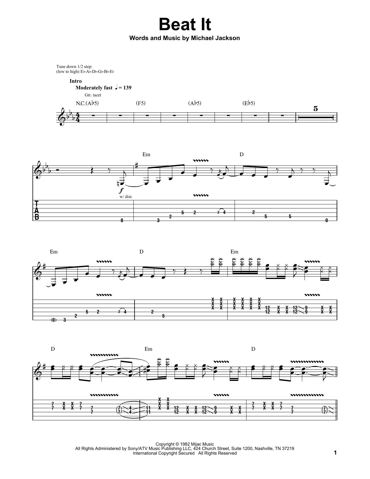 Michael Jackson Beat It Sheet Music Notes Chords Printable Rock