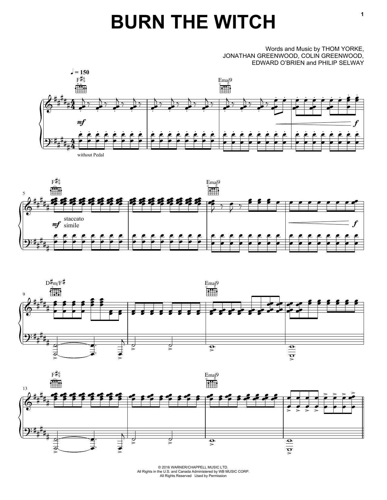 Radiohead Burn The Witch Sheet Music Notes Chords Printable