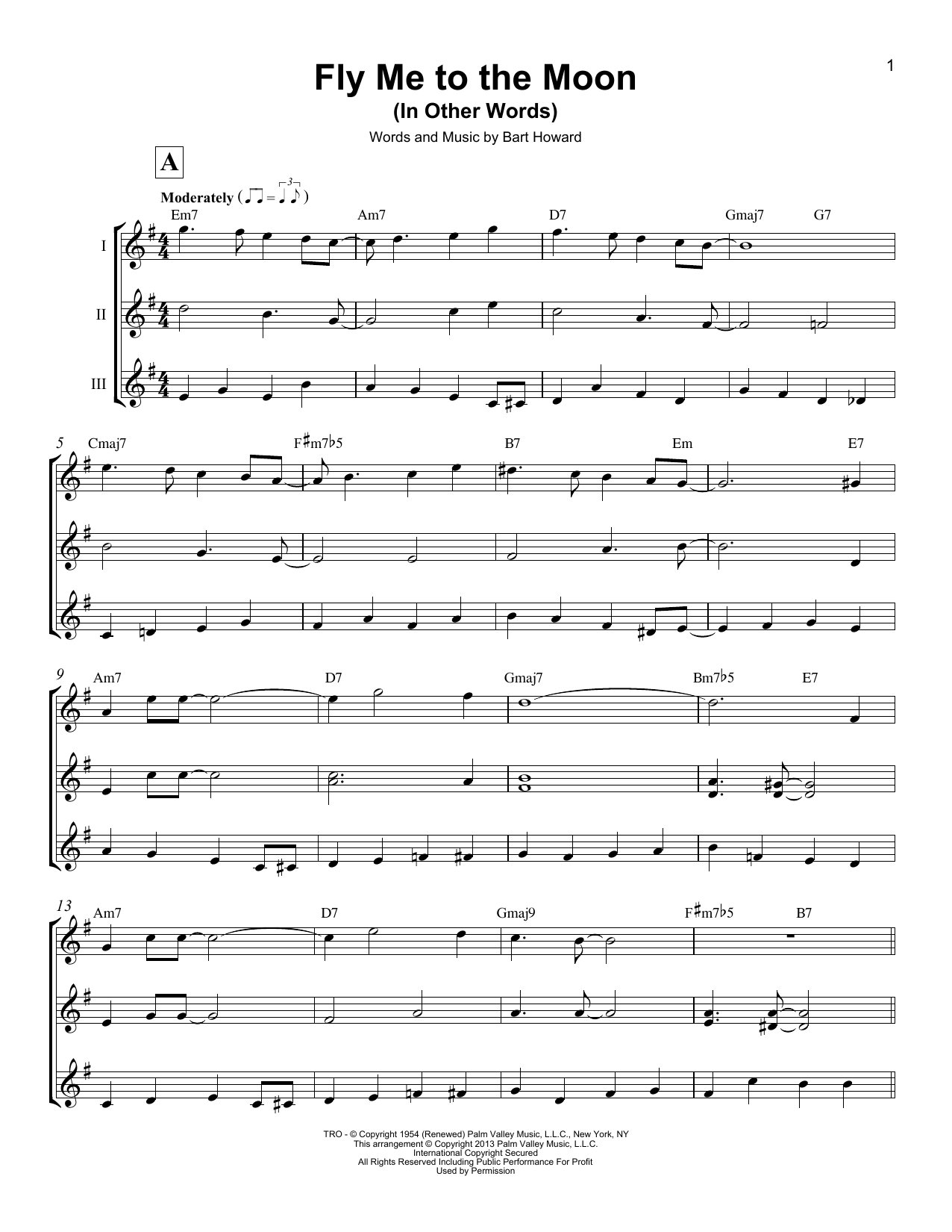 Bart Howard Fly Me To The Moon In Other Words Sheet Music Notes