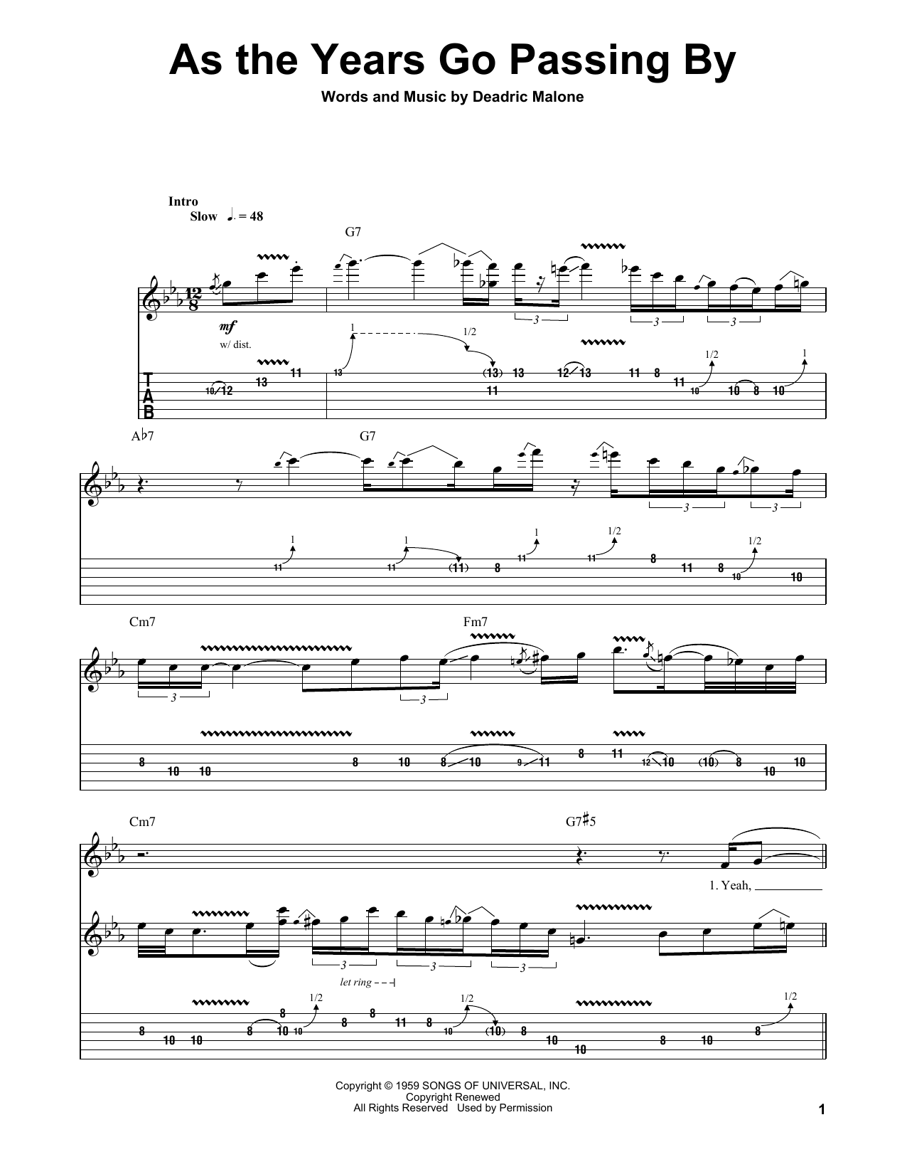 Jeff Healey Band As The Years Go Passing By Sheet Music Notes