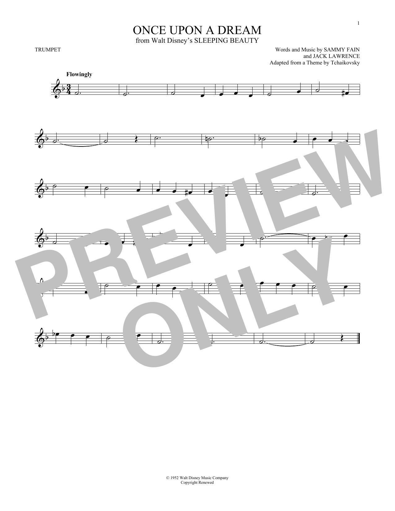 Sammy Fain 'Once Upon A Dream' Sheet Music Notes, Chords | Download  Printable Trumpet - SKU: 178168
