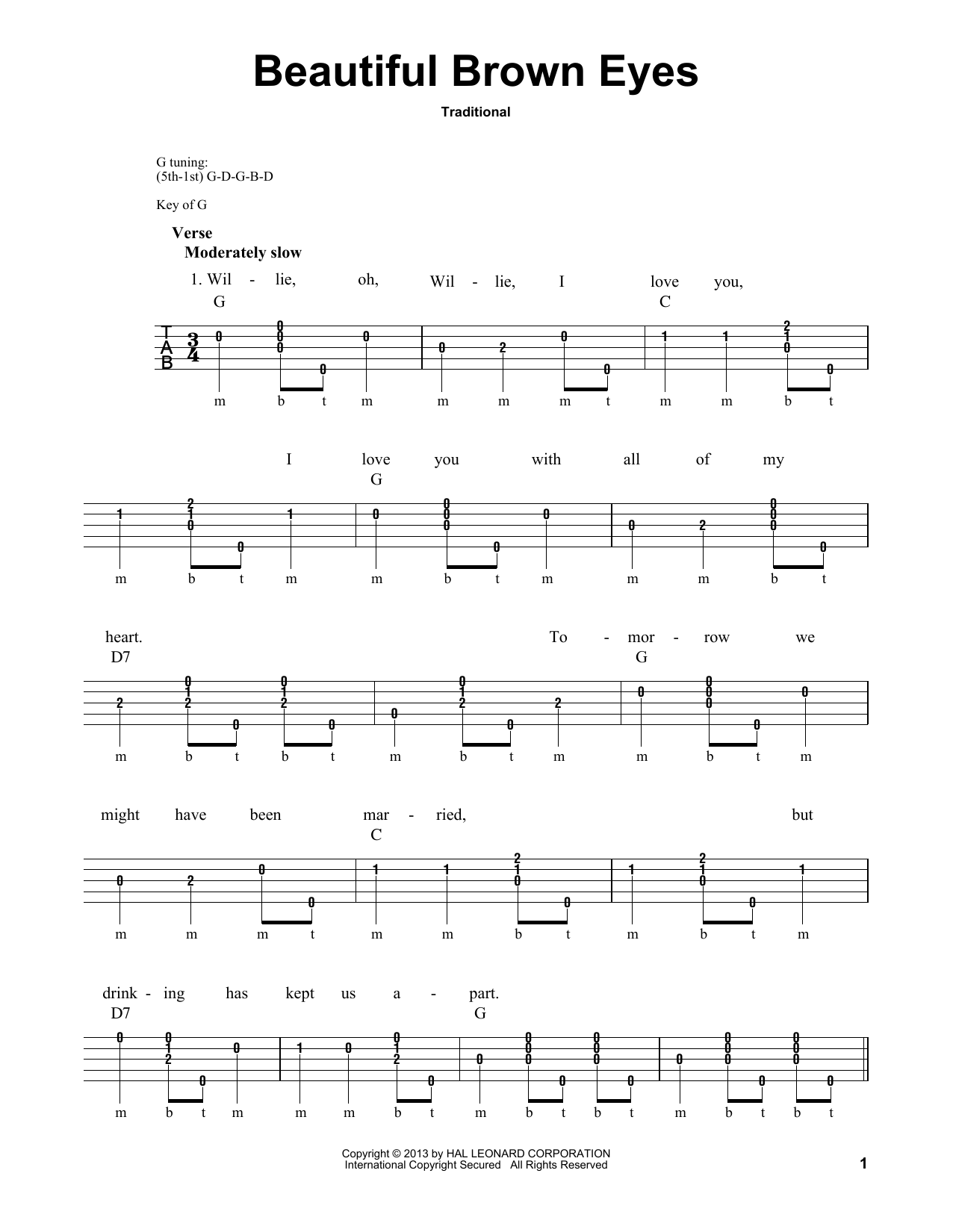 Traditional Beautiful Brown Eyes Sheet Music Notes Chords