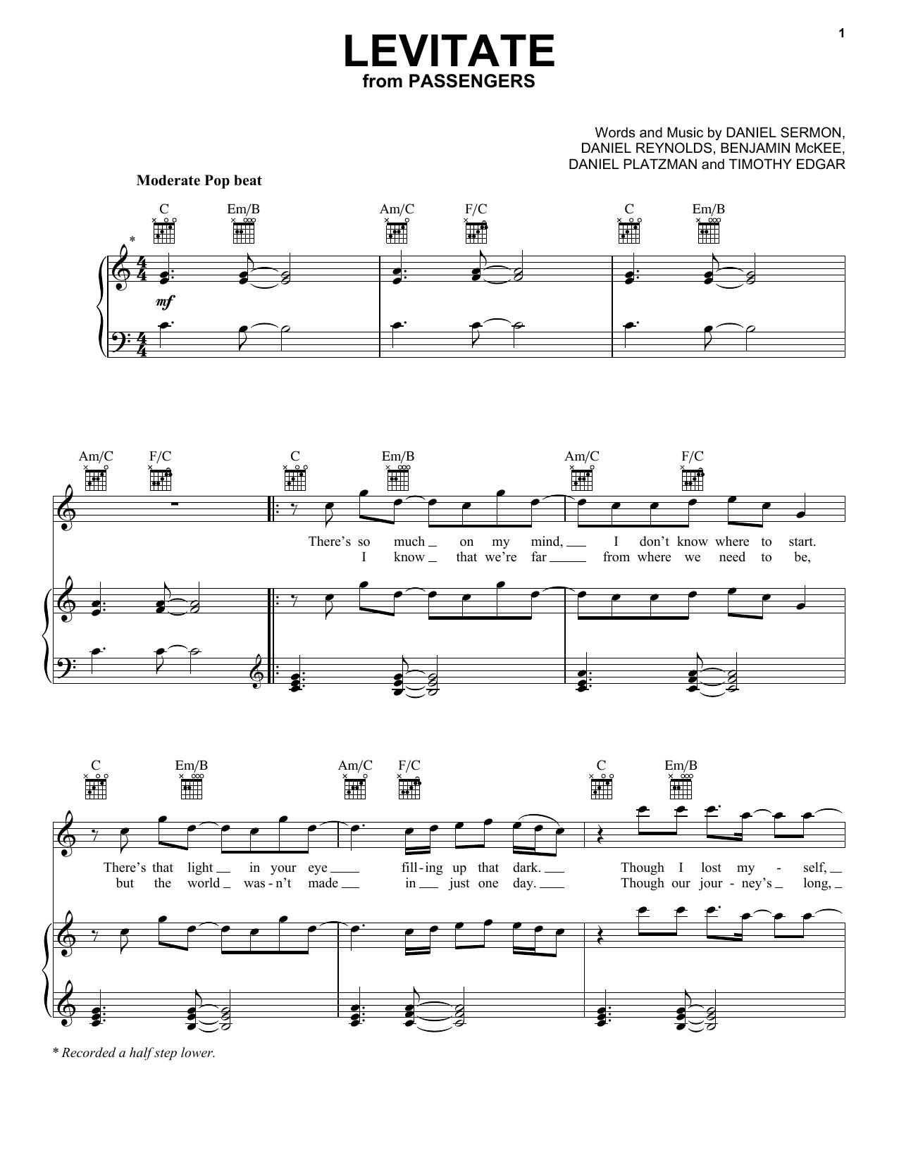 Imagine Dragons Levitate Sheet Music Notes Chords Printable Pop