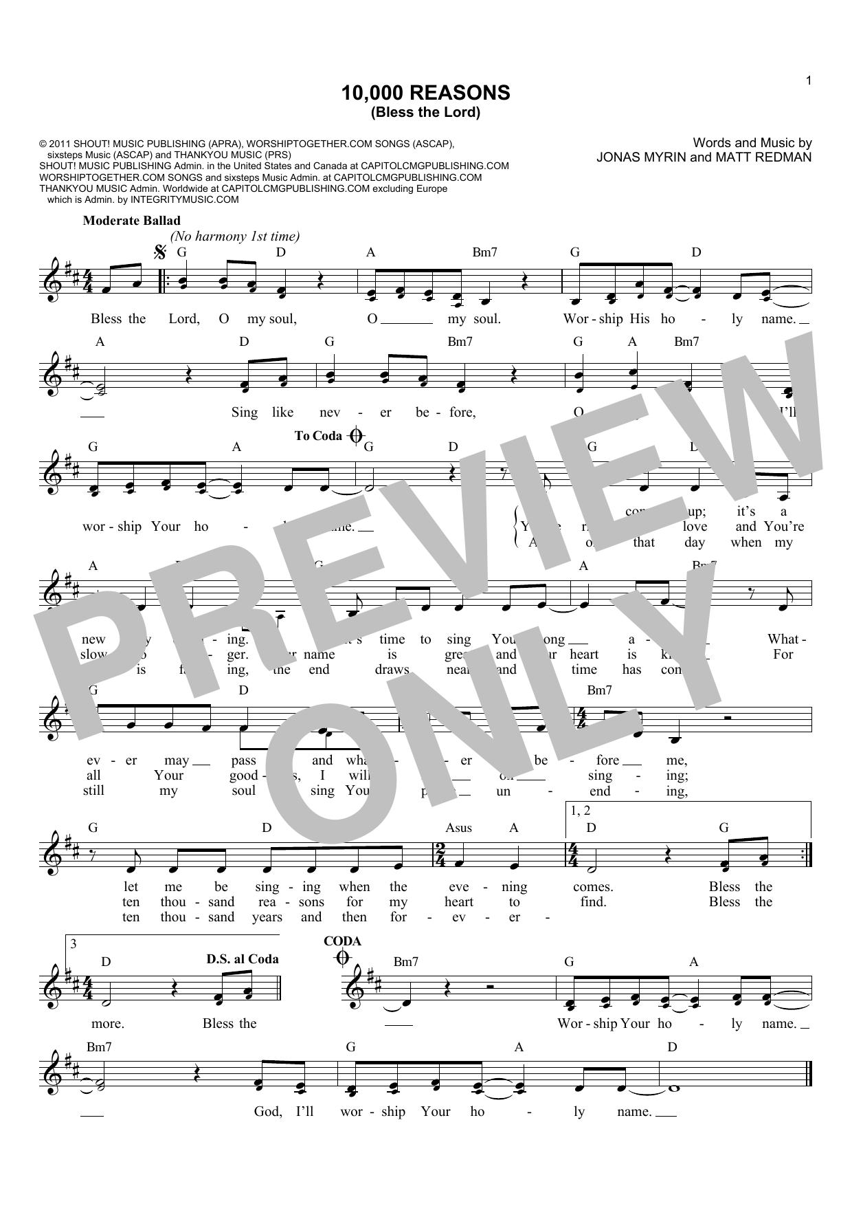 Matt Redman 10000 Reasons Bless The Lord Sheet Music Notes