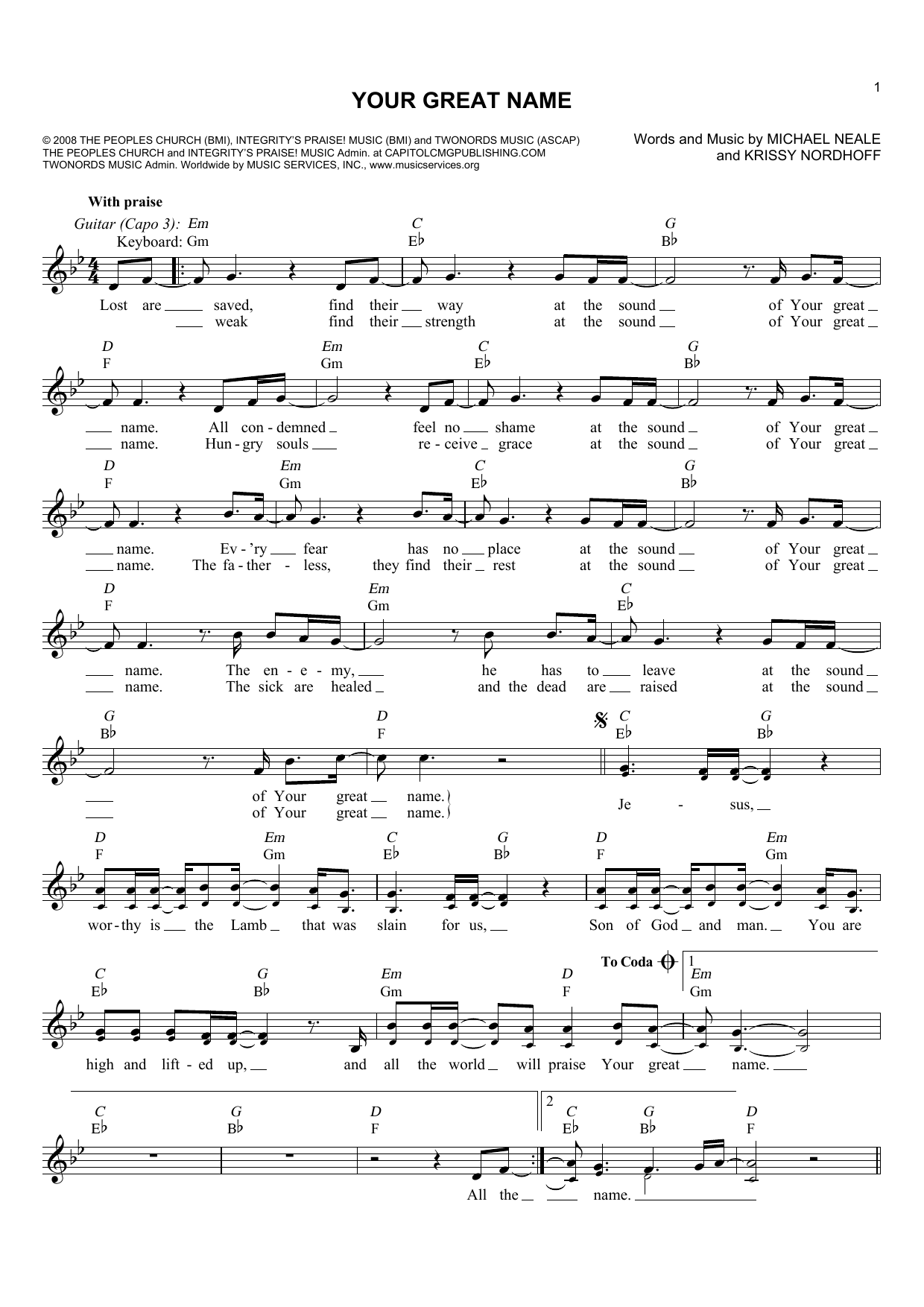 Natalie Grant 'Your Great Name' Sheet Music Notes, Chords | Download  Printable Melody Line, Lyrics & Chords - SKU: 178868