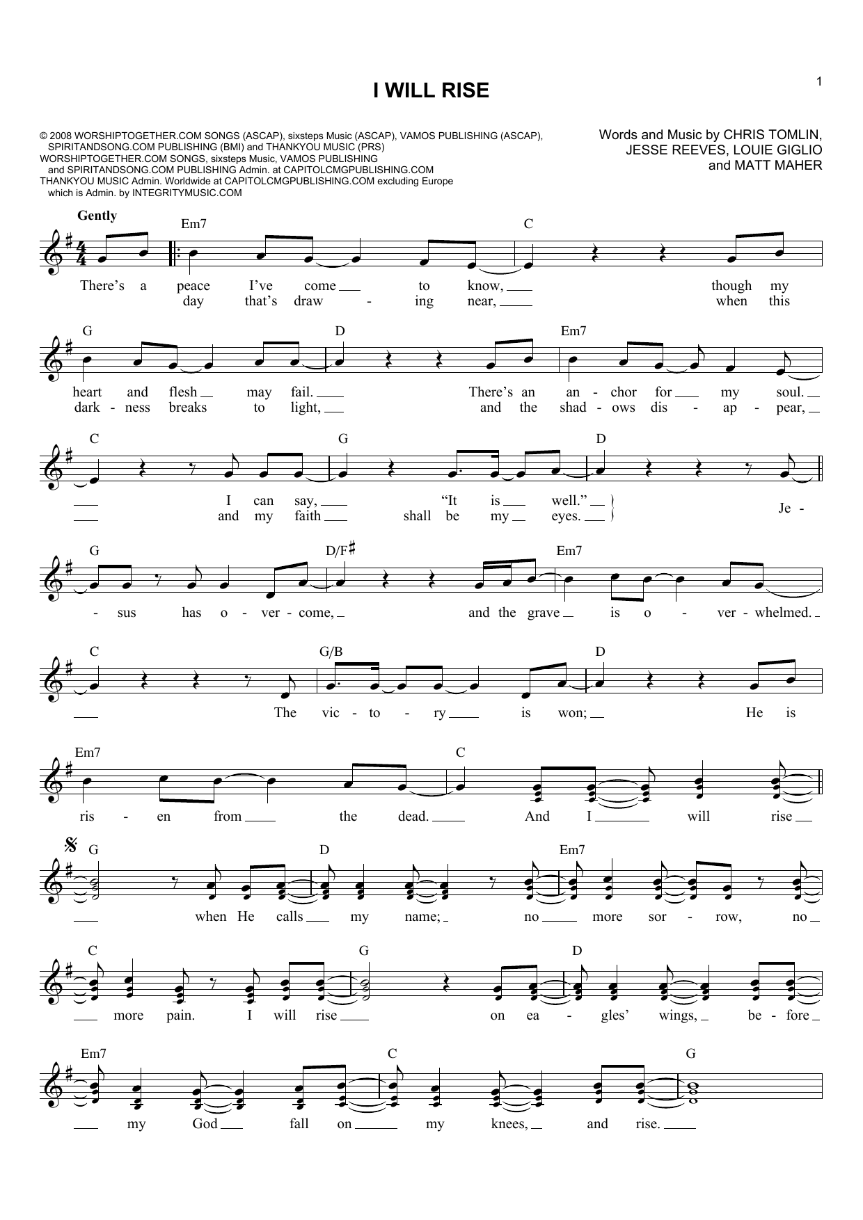 Chris Tomlin I Will Rise Sheet Music Notes Chords Printable